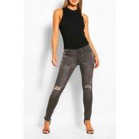 Womens Low Rise Distressed Stretch Skinny Jean - Grey - 6, Grey