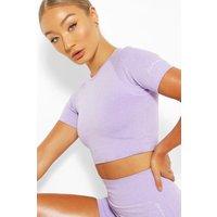 Womens Seamless Gym Crop Top - Purple - Xs, Purple