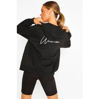 Womens Woman Print Oversized Zip Through Hoody - Black - 14, Black