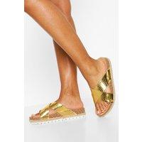 Womens Cross Strap Footbed Sliders - Metallics - 5, Metallics