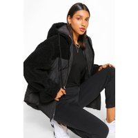 Womens Teddy Fabric Mix Puffer Jacket - Black - 14, Black