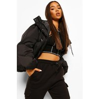 Womens Oversized Sleeve Hooded Puffer Jacket - Black - 8, Bl