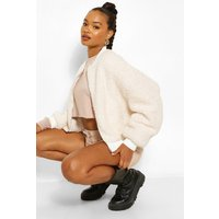 Womens Teddy Faux Fur Bomber Jacket - White - 14, White
