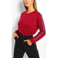 Womens Side Stripe Jumper - Red - M, Red