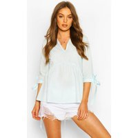 Womens Woven V Neck Tie Sleeve Smock Top - Blue - 6, Blue