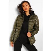 Womens Funnel Neck Fitted Puffer Jacket - Green - 8, Green