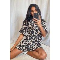 Womens Leopard Print Smock Dress - Brown - 14, Brown