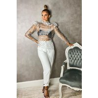 Womens Woven Button Front Tailored Trousers - White - 12, White