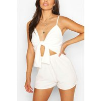 Womens Cut Out Tie Front Flippy Playsuit - White - 8, White