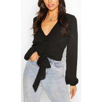 Womens Woven Button Through Tie Blouse - Black - 8, Black