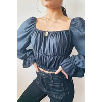 Womens Woven Shirred Ruffle Crop Top - Black - 6, Black