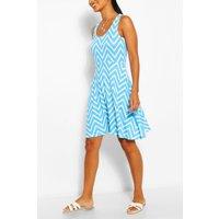 Womens Zigzag Skater Mini Dress - Blue - 12, Blue