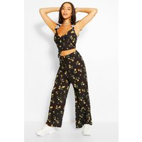 Womens Floral Tie Front Top & Culottes Co-Ord - Black - 6, Black