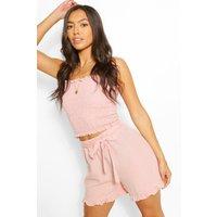 Womens Linen Look Shirred Top & Frill Hem Shorts Co-Ord - Pink - 14, Pink