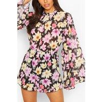 Womens Floral Chiffon Flare Sleeve Ruffle Playsuit - Black - 12, Black