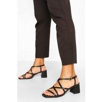Womens Multi Strap Low Block Heels - Black - 3, Black