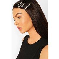 Womens Diamante Star Hair Clip Pack - Grey - One Size, Grey