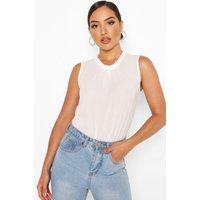 Womens Woven Ruffle Neck Sleeveless Bodysuit - White - 12, White