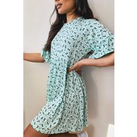 Womens Ditsy Floral Smock Dress - Green - 14, Green