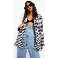 Womens Dogtooth Woven Double Breasted Boxy Blazer - Black - 14, Black