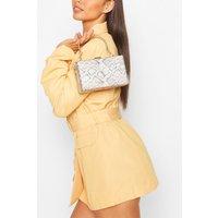 Womens Snake Shimmer Box Clutch Bag & Chain - Beige - One Size, Beige