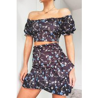 Womens Floral Puff Sleeve Top & Wrap Frill Skirt Co-Ord - Black - 10, Black