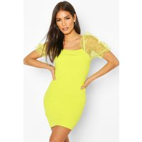 Womens Organza Puff Sleeve Bodycon Mini Dress - Green - 14, Green