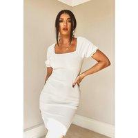 Womens Rib Square Neck Puff Sleeve Dress - White - 14, White