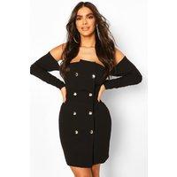 Womens Draped Sleeve Bardot Blazer Dress - Black - 14, Black