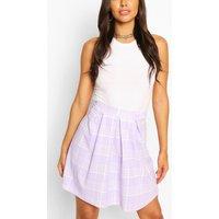 Womens Pastel Check Pleated Skater Skirt - Purple - 12, Purple