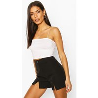 Womens Woven Split Front Short - Black - 10, Black