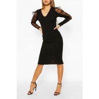 Womens Dobby Mesh Organza Puff Sleeve Midi Dress - Black - 12, Black