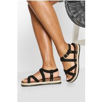 Womens Strappy Footbed Sandals - Black - 4, Black