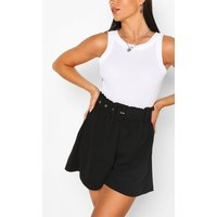Womens Tailored Paper Bag Belted Shorts - Black - 8, Black