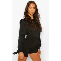Womens Tie Sleeve Cotton Mix Top - Black - 10, Black