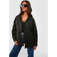 Womens Soft Touch Oversized Shacket - Black - S, Black