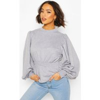 Womens Puff Sleeve Shirred Waist Sweat - Grey - 12, Grey