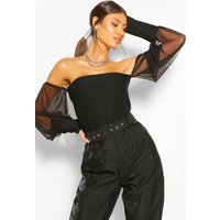 Womens Shirred Effect Mesh Bardot Top - Black - 10, Black