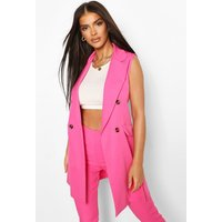 Womens Double Breasted Sleeveless Blazer - Pink - 10, Pink