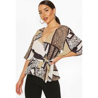 Womens Animal Print Frill Sleeve Blouse - Brown - 8, Brown