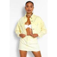 Womens Acid Wash Cropped Denim Jacket - Yellow - 8, Yellow