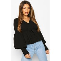 Womens Smock Top With Double Layered Sleeves - Black - 12, Black