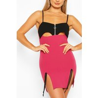 Womens Cut Out Mini Dress With Side Split Detail - Pink - 12, Pink