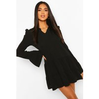 Womens Tiered Smock Dress With Neck Tie - Black - 8, Black