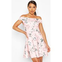 Womens Floral Print Off The Shoulder Skater Dress - Pink - 12, Pink