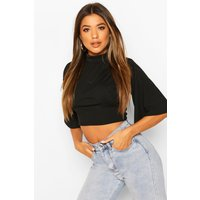 Womens Roll/Polo Neck Top With Angel Sleeves - Black - 8, Black