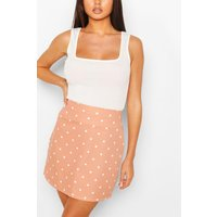 Womens Pastel Polka Dot A Line Mini Skirt - Pink - 14, Pink
