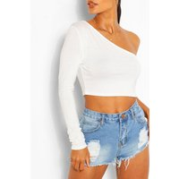 Womens One Shoulder Crop Top - White - 10, White