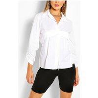 Womens Ruched Detail Oversized Shirt - White - 12, White