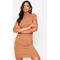 Womens Knitted Ribbed Mini Skirt - Beige - S, Beige